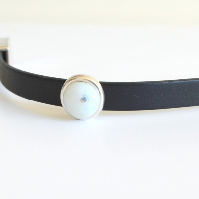 Bracelet White off Fused Glass with Black Leather