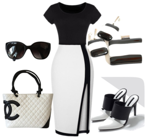 black and white, timeless classic, jewelty set, earrings, pendant, corporate look, corporate jewelry,