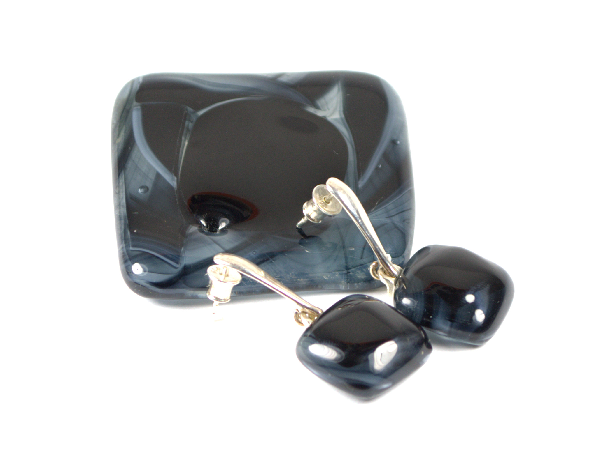 Grey Shades of the Wadden Sea - Glass Jewellery Set