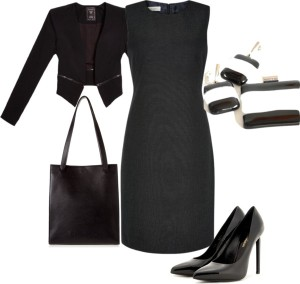 timeless classic, black and white, jewelry, corporate jewelry, earrings, pendant, professional woman, professional outfit, little black dress