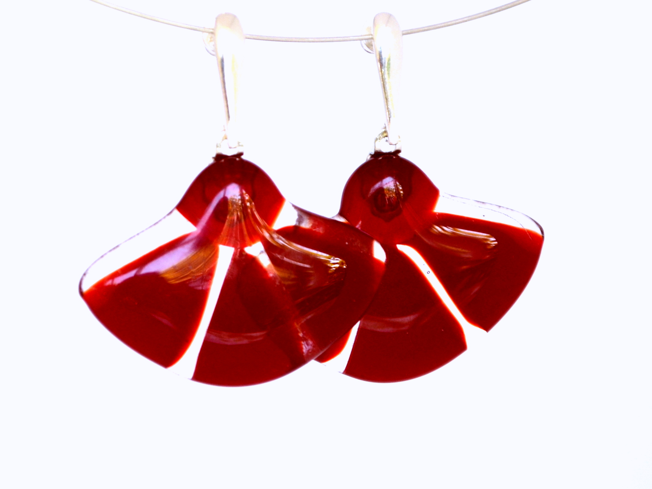 corporate look, corproate jewelry, glass jewelry, jewelry, sterling silver, earrings, red, glass earrings, red point tailor, custom order, corporate jewelry