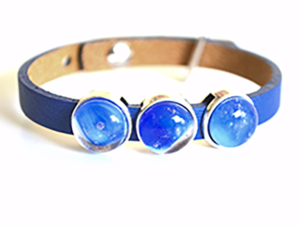 Bracelet with Blue Beads and Leather band