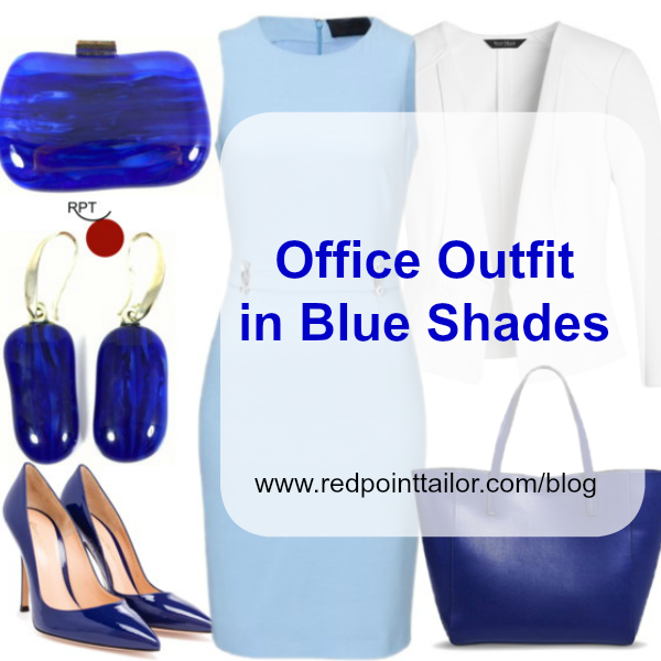 Office Outfit in Blue Shades
