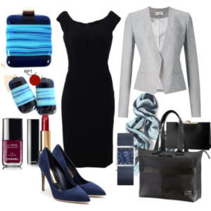 be inspired, bering woman watch, black, blue, blue high heels, blue pumps, business attire, career minded women, confidence, earrings, fashion, gray, gray jacket, how to dress to the office, How to Style a Little Black Dress, HowTo, jewellery, little black dress, ootd, pendant, Red Point Tailor, savvy women, style, unleash your creativity, women in business, women who work